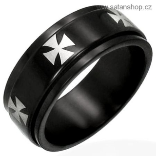Prsten - Iron Cross 316L Black Rot