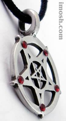 Amulet - Pentagram Red Stone