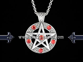 Náhrdelník - Pentagram Red Stone