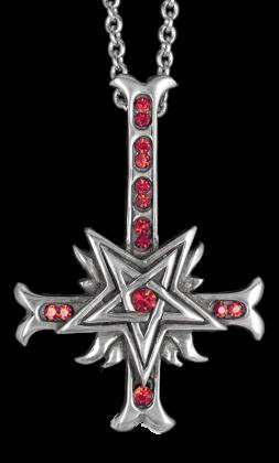 Náhrdelník - Inverted Red Stone Cross Pentagram