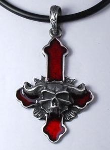 Náhrdelník - Inverted Cross Satan Red